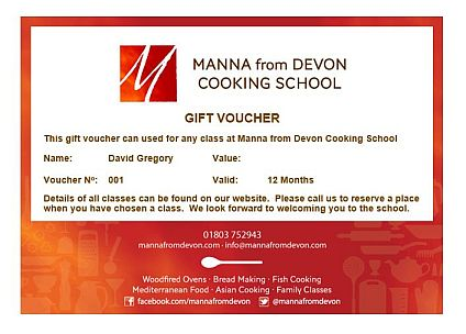 Gift vouchers - Manna From Devon Cooking School