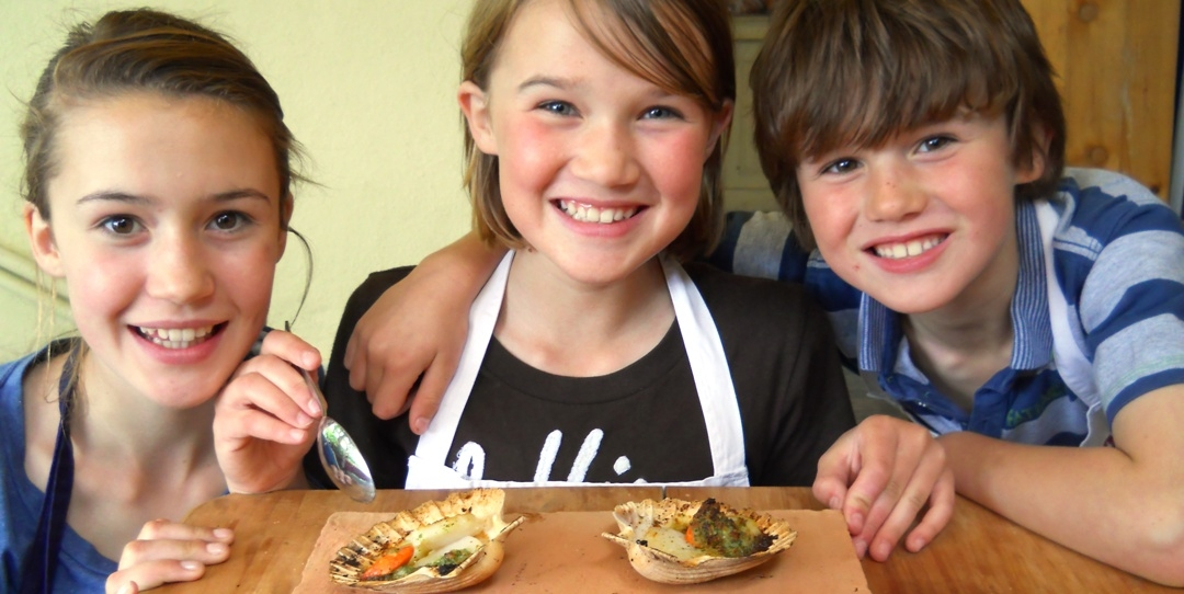 Young Chefs look happy with their scallops