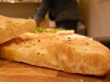Foccaccia showing light, airy crumb