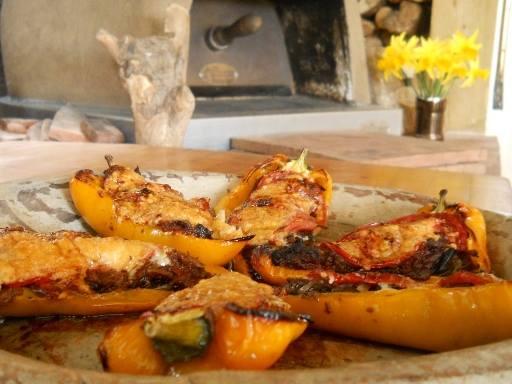 wood roast ox cheek and peppers