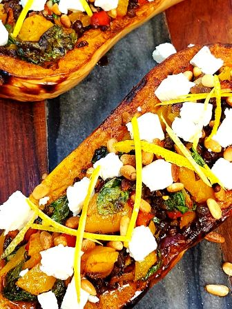 Stuffed Butternut Squash in the Wood Fired Oven