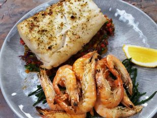 Wood Fired Planked Hake & Prawns with Fire Roasted Salsa