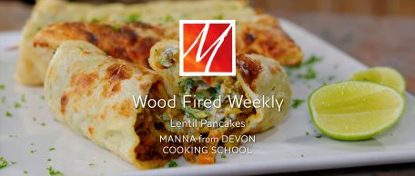 Lentil pancakes in the wood fired oven