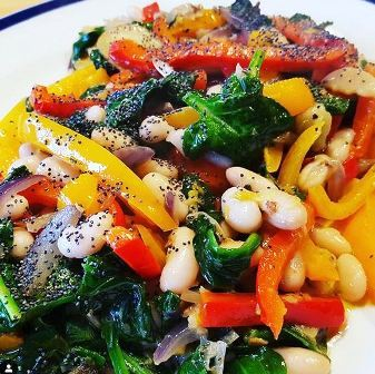 Hot Vegetable Salad with Canellini Beans & Poppy Seeds