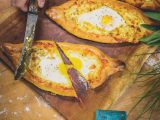 Khachapuri - oozing with cheese and runny eggs