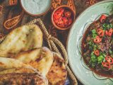 Naan bread with curry