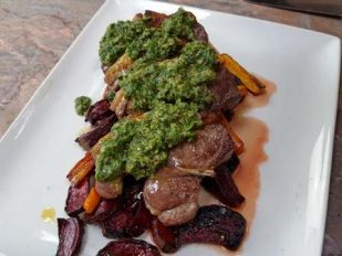 Woodfired Lamb, Roast Roots & Salsa Verde