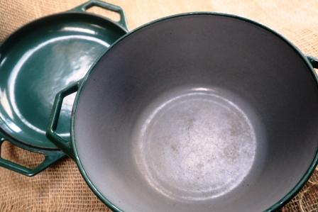 Medium Green Casserole Dish - used but still plenty of life!